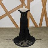 Черный Русалки невесты платья элегантные лодки горловины рельефная невесты платье