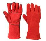 Rouge de la sécurité résistant à la chaleur le travail du cuir des gants de protection de la soudure à main