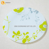 Glace d'étiquette ronde de fleur, vaisselle