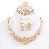 Collana placcata oro di modo 18k, insiemi dei monili dei braccialetti degli anelli degli orecchini