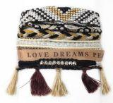 Multi braccialetto di Seedbeads di riga della Boemia con le coperture e la nappa