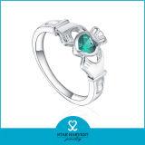 Emerald CZ joyas de plata en forma de corona Anillo (SH-R0499)