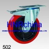 Roter PU-Hochleistungsschwenker mit Gesamtverschluss-Fußrolle