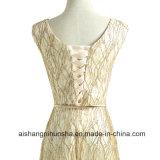 V-Шея Двойн-Плеча шнурует вверх длиннее платье вечера цвета золота конструкции