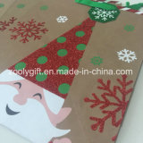 O Glitter recicl sacos do presente do papel do Natal de Brown Kraft