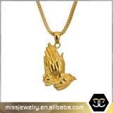 Collana Pendant di preghiera Mjhp052 della mano dell'oro di Hip Hop di disegno semplice degli uomini