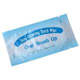Orales Sorgfalt-Produkt-hellblaue tadellose Aroma-Zähne, die Finger-Wischer weiß werden