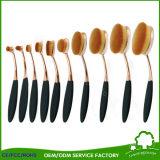 Cepillos ovales al por mayor del maquillaje del conjunto de cepillo del cepillo de dientes del profesional 10PCS