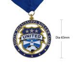 Custom марафон работает спорта металлические медаль с голубой лентой