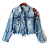 Испанский заказ! Скачками Высокая-Waisted тяжелая промышленная вышивка с курткой джинсовой ткани