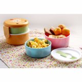 Doos van de Lunch Bento van de Container van het voedsel de Plastic met Vork voor Kind 20004