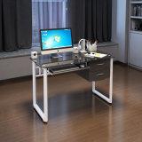 Закаленное стекло металлические компьютерный стол с выдвижной ящик