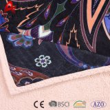 Coperta stampata molle eccellente 100% di Micromink del poliestere con Sherpa