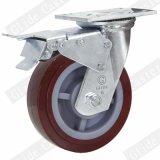 125 mm 빨간 폴리우레탄 바퀴 산업 피마자