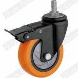 Mittleres Aufgabe PU-Gewinde-Stamm-Oberseite-Bremsen-Fußrollen-Rad (orange) (einzelne Peilung) (G3216E)