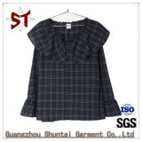T-shirt occasionnel de plaid de collier de poupée d'OEM Ladiies
