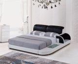 Кровать модульной кожи мебели отдыха деревянная Queen-Size для спальни