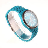 新しいジュネーブ昇進デザインシリコーンアナログストラップの女性の水晶腕時計(DC-1150)