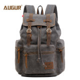 型のキャンバスの革バックパック、レトロのハイキングのDaypacksのコンピュータのラップトップ袋、男女兼用の偶然のBookbag