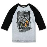 T-shirts 100% estampés par écran fait sur commande rond de T-shirt de collet de Jersesy de coton
