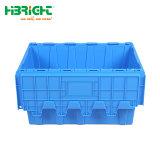 Logística de plástico apilables Caja con tapa con bisagras