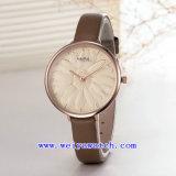 Relojes de manera de la mujer del regalo del ODM del OEM de la correa de cuero (Wy-110E)