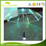 Le double dégrossit parapluie promotionnel du parapluie DEL de parapluie droit