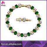 La mode de cuivre Bracelet à breloque de zircon plaqué or Bijoux