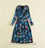 Оптовая торговля женщинами моды одежды V-образный вырез платья