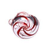 Tubo de cristal de la cuchara del tubo de agua de tubo del tabaco del claro de la raya del tubo de cristal rojo de cristal de cristal de la mano