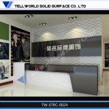 Mesa de recepção acrílica do salão de beleza do prego do projeto elevado da forma do lustro para a venda