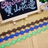 Cordón de nylon del cordón de la venta al por mayor los 7cm de la anchura del poliester del recorte suizo del bordado para la ropa y las materias textiles caseras