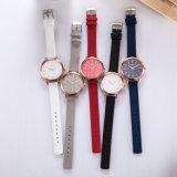 Reloj de los pares del reloj del acero inoxidable de la correa de cuero del regalo (Wy-119E)