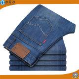人の綿の伸張の標準的な基本的な方法細い適合の石の洗浄青いデニムジーン