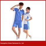 男の子および女の子(U37)のためのカスタマイズされた短い袖の綿の悪感情の学校の衣服