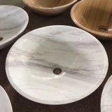 Modern Design Wash Basin Bathroom White Marble Sink Round