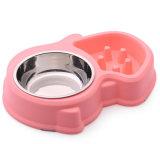 Plato lindo colorido del tazón de fuente o del gato del perro del tazón de fuente del acero inoxidable