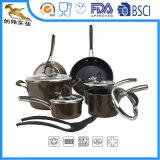 Het Vastgestelde 12-stuk van Cookware van het Aluminium van de Stok niet (CX-AS1201)
