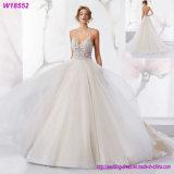 Vestido de casamento elegante do laço do vestido longo quente da noiva das luvas das vendas