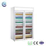 Две двери в коммерческих целях вертикальный дисплей охладитель холодильник (LG-1040CF)