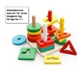 구획 장난감을 겹쳐 쌓이는 실로폰 음악을 세는 나무로 되는 아이들 교육 구슬 수학