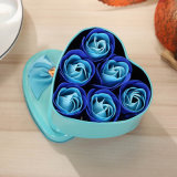 Custom Color azul con forma de flor rosas Heat-Metal Caja de regalo jabón (YB-SP-454)