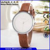 Reloj clásico de las señoras del cuarzo de la correa de cuero de la manera (Wy-085C)