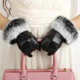 Дамы PU перчатки заяц шарик перчатки кожаные перчатки