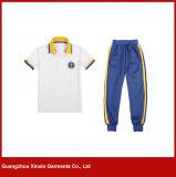 Vêtements courts personnalisés d'école de piqué de coton de chemise pour les garçons et les filles (U37)