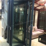 Porta de dobradura de alumínio Folha interior/exterior da vitrificação dobro