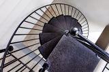 Espiral de cristal interiores Staicrase con pasamanos de acero inoxidable