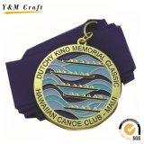 La natation 2017 en alliage de zinc en métal de récompense faite sur commande du souvenir 3D de concurrence folâtre la médaille avec la bande (M005)