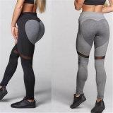 Altos pantalones atractivos de la yoga de Waisted del brezo del corazón del tope gris de la dimensión de una variable para las mujeres