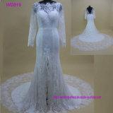 Reizvolle weiße Spitze Appliqued Satin, der Hochzeits-Kleid 2018 bördelt